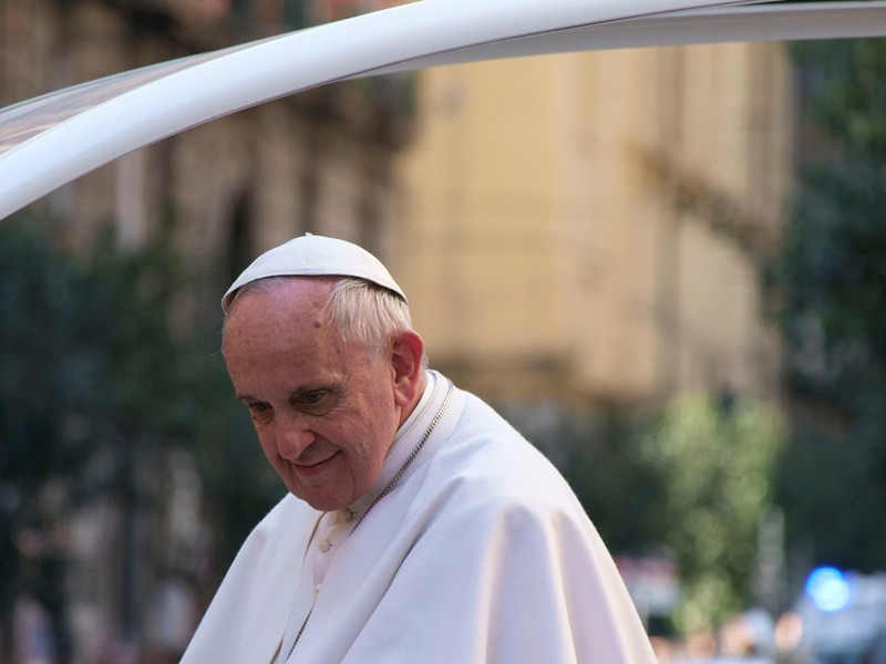 Pope Francis during his visit to Naples, Italy.