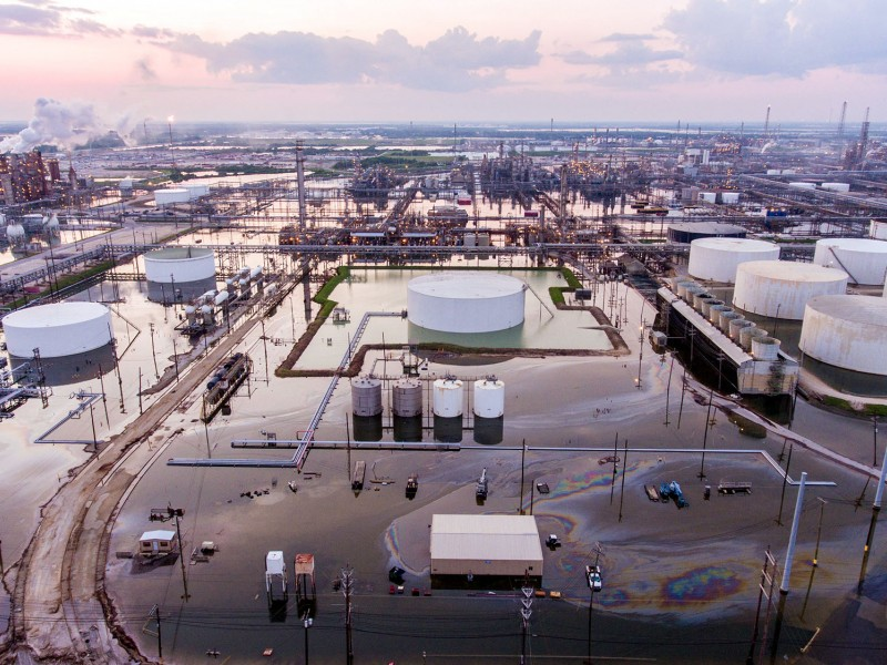 Aerial photo of the nation's largest oil refinery, owned by Motiva and located in Port Arthur, Texas, submerged in floodwaters in 2017 due to Hurricane Harvey.
