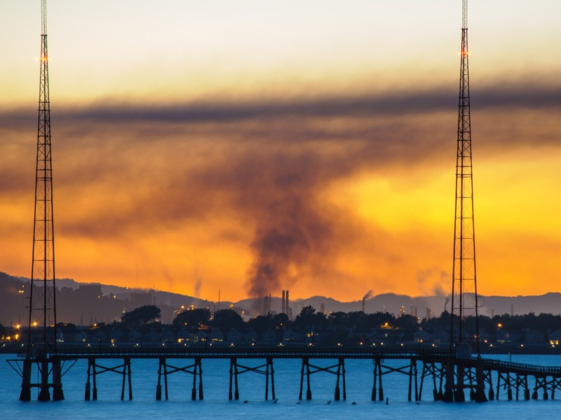 The 2012 Richmond refinery fire at sunset.