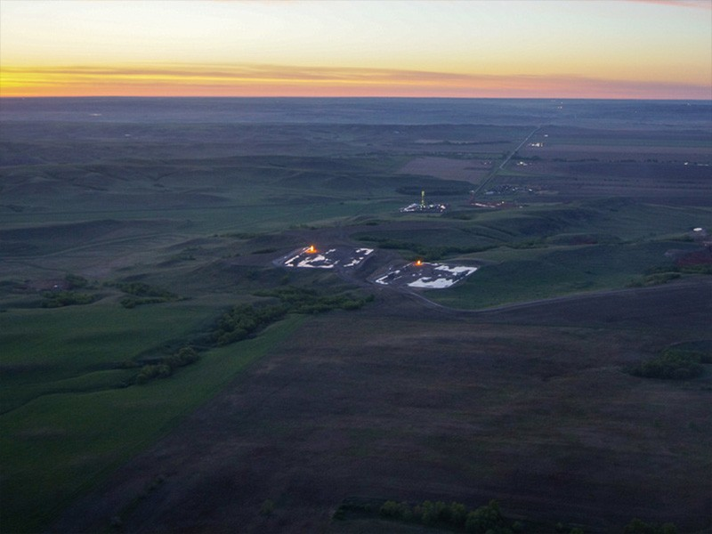 Flaring in gas wells in Rifle, CO.