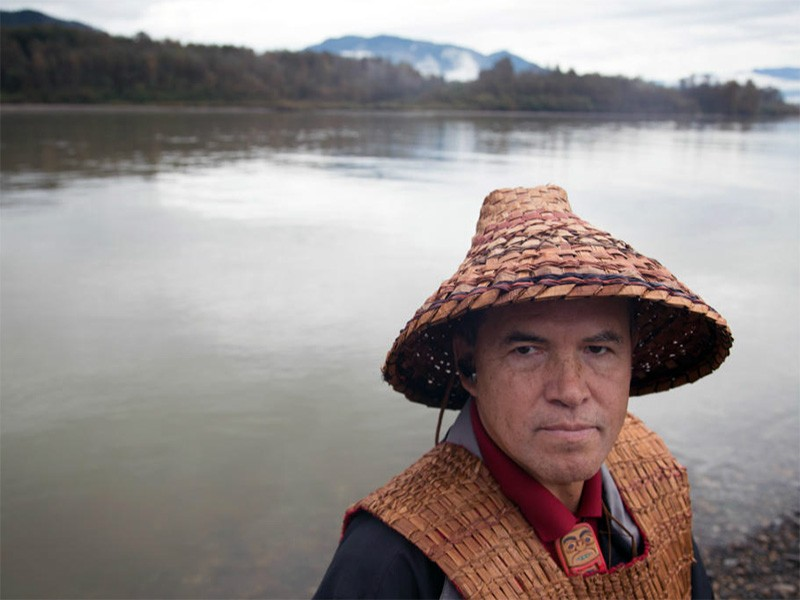 Brian Cladoosby, Swinomish Tribal Chairman, during a ceremony at the Fraser River.