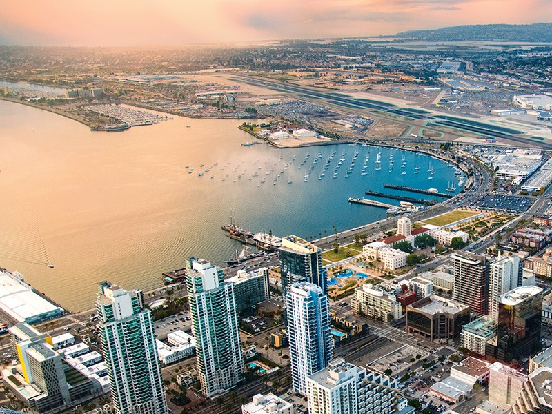 Aerial view of San Diego, California.