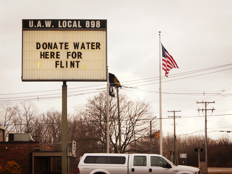 Flint, Michigan, during the lead contamination crisis in January 2016.