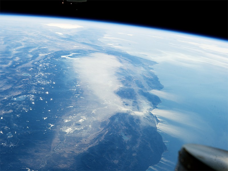 Haze over California's Central Valley, viewed from the International Space Station on January 17, 2014.