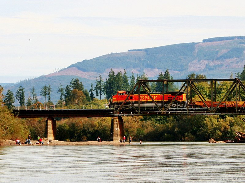 A BNSF train crosses Skagit River in Burlington.