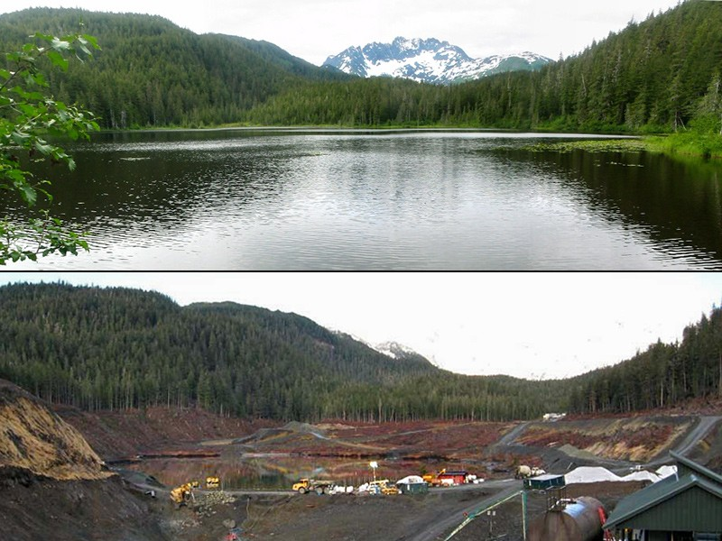Aerial photos of Lower Slate Lake before and after the Kensington Gold Mine's dumping of mining waste.