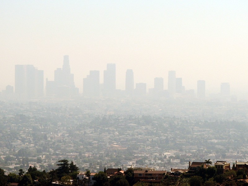 Smog covers the city of Los Angeles.