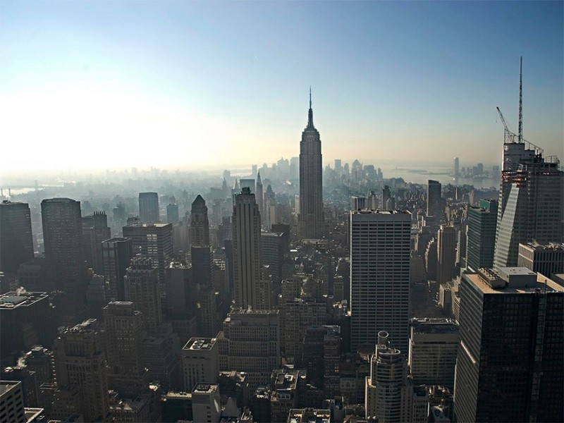 Smog over New York City.