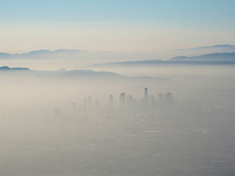 Smog covers Los Angeles.