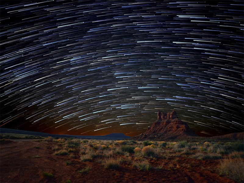 Star trails over Bears Ears National Monument in Utah.