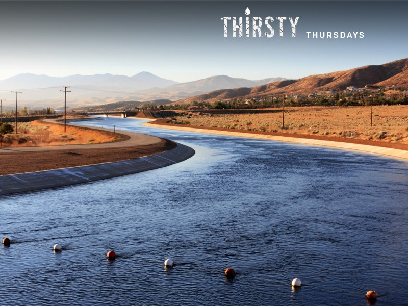 An aqueduct carrying water from the northern California Bay Delta through the state's arid Central Valley.