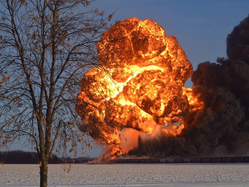 The fireball that followed the derailment and explosion of two trains, one carrying Bakken crude oil, on December 30, 2013, outside Casselton, N.D.