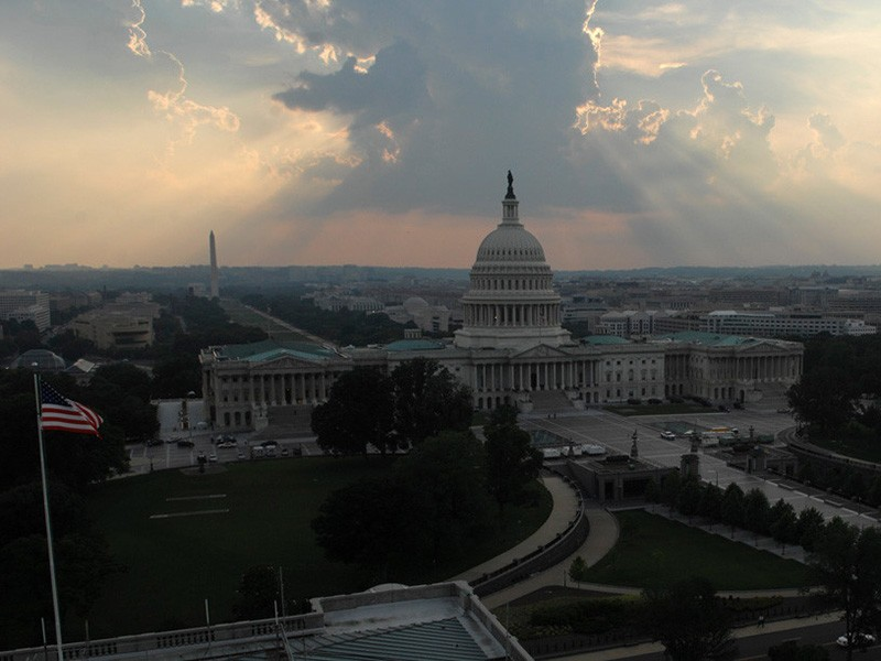The skies being to clear behind the U.S. Capitol after a spring rainstorm.