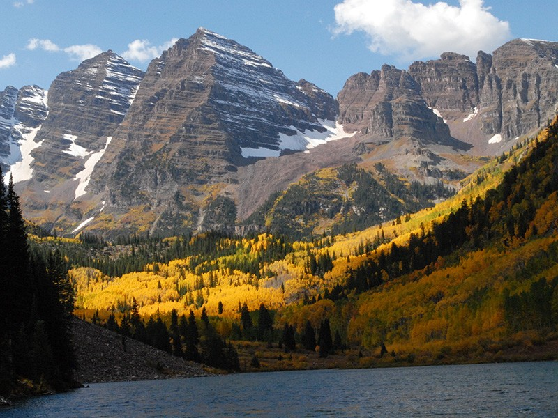 Maroon Lake at peak fall color in late September 2011 on the White River National Forest in Colorado.