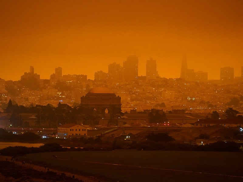 The skyline in the distance behind Crissy Field is barely visible with smoke from wildfires Wednesday, Sept. 9, 2020, in San Francisco.