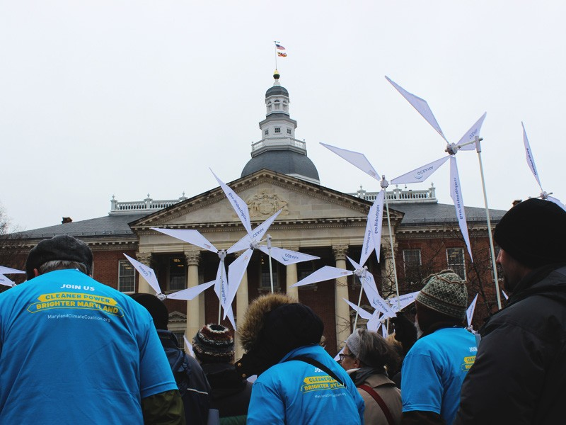 Rally at the Maryland statehouse on January 14, 2015 to urge legislators to raise the state's renewable energy standard