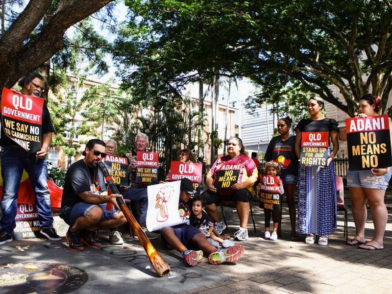 Wangan and Jagalingou people protest against the Carmichael coal mine.