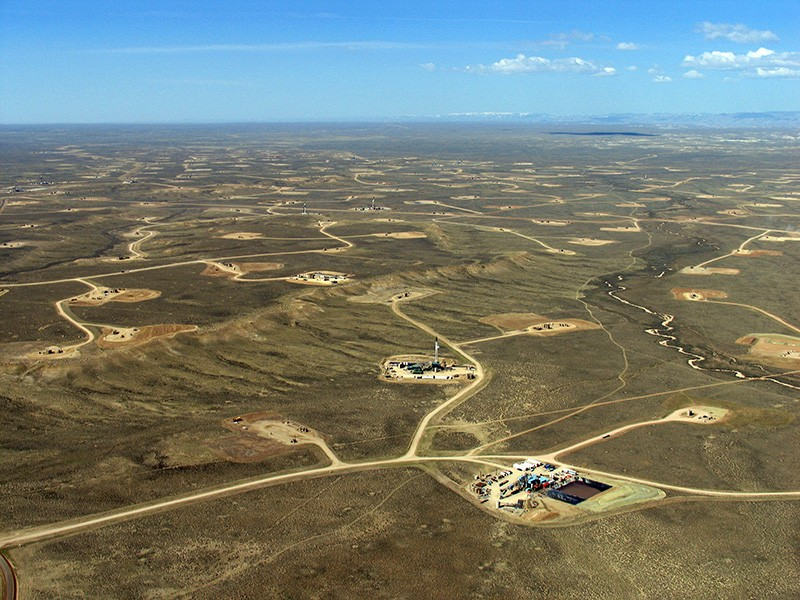 Natural gas well pads, pipelines, and other associated infrastructure in the Upper Green River Basin in Wyoming.