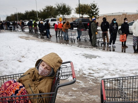 Residents of Austin, Tex., wait to enter a grocery store on Feb. 16, 2021, to stock up on supplies ahead of another expected storm.