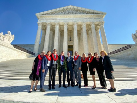 Earthjustice and clients after the Hawaiʻi Wildlife Fund v. County of Maui case at the Supreme Court.