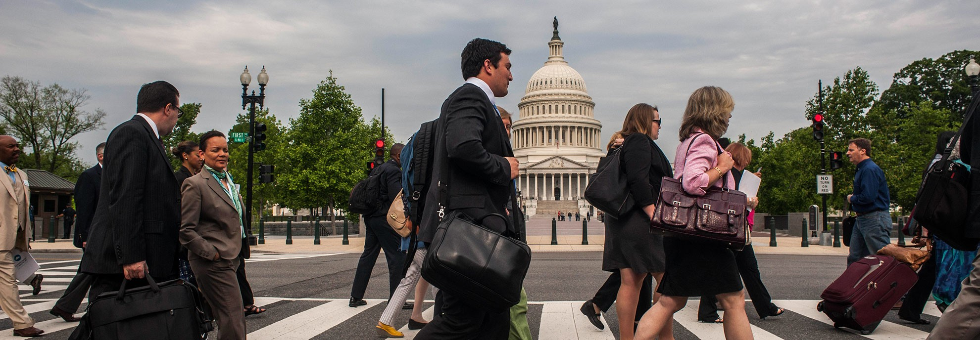 Clean Air Ambassadors walk past the Capitol in Washington, D.C., on their way to meet with their elected officials.