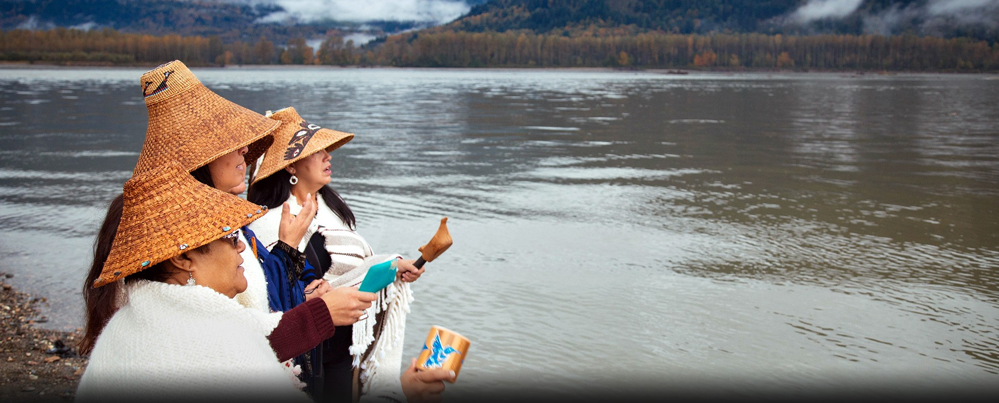 Members of the Tulalip Tribe sing along the banks of the Fraser River in Chilliwack, British Columbia.