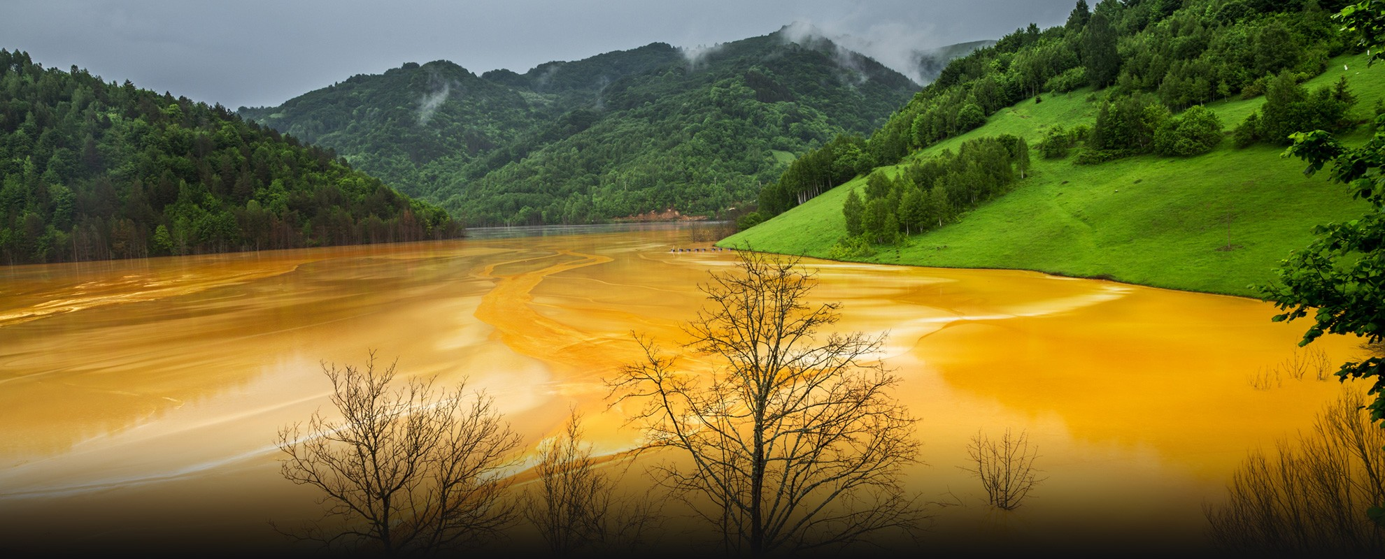 Water pollution from copper mining.