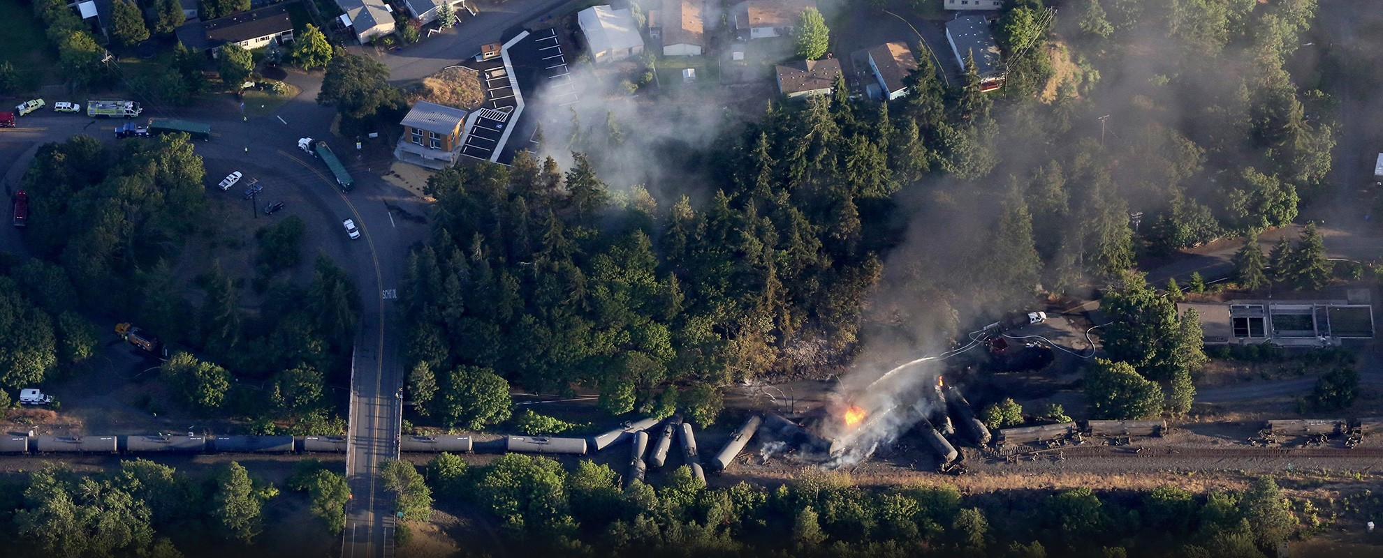 A train carrying crude oil derailed in the town of Mosier, Oregon, in 2016.