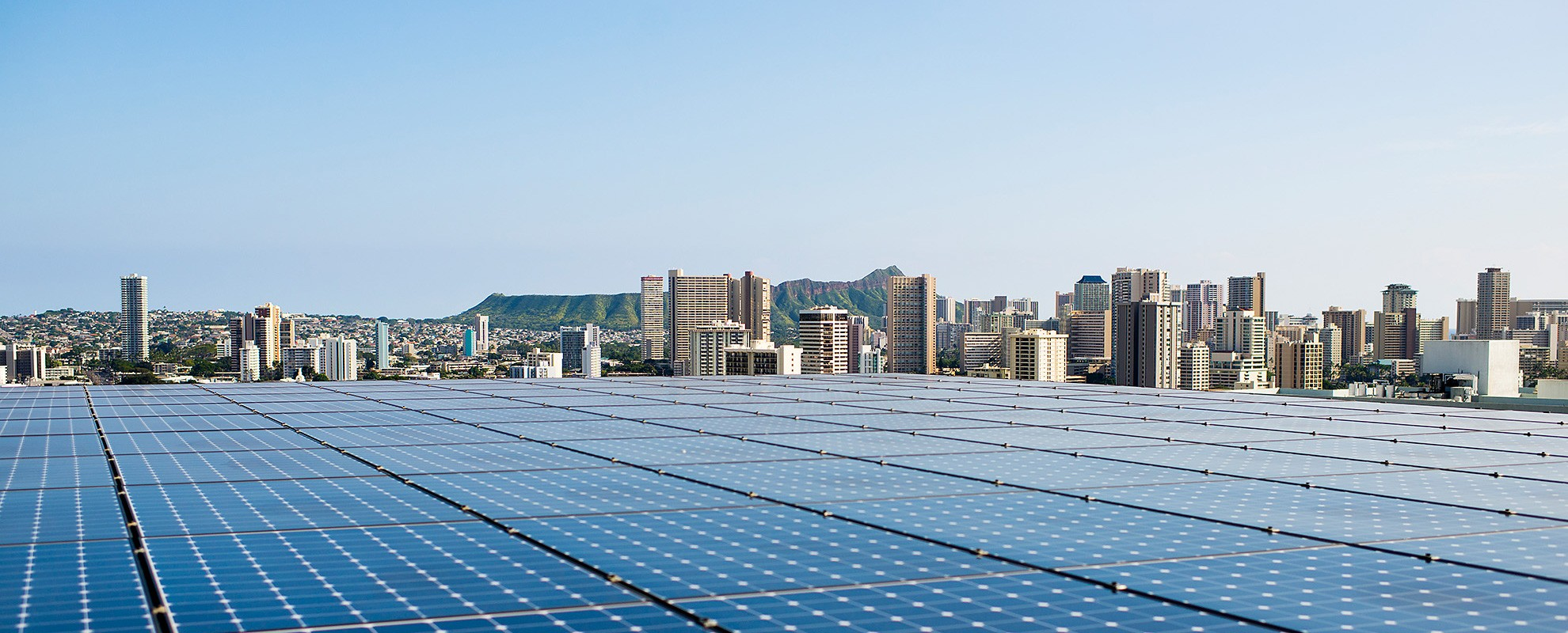 Solar panels on the roof of the new parking garage at Kapiolani Medical Center in Oahu, Hawaii.
