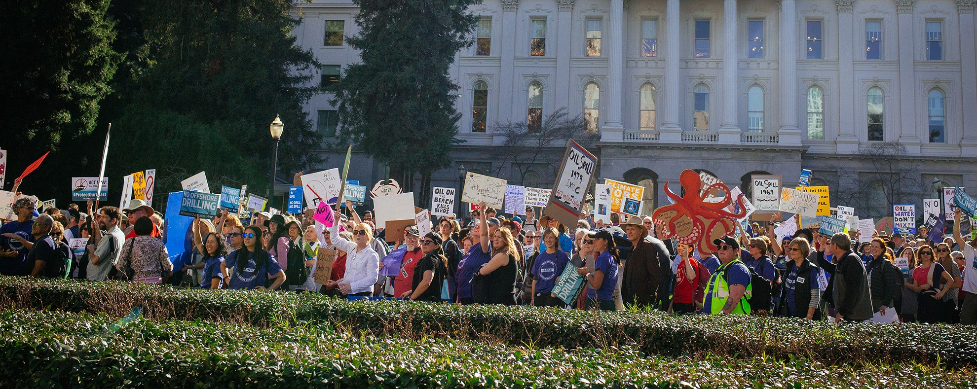 Supporters rally in Sacramento to submit public comments on attempts to expand offshore oil drilling.