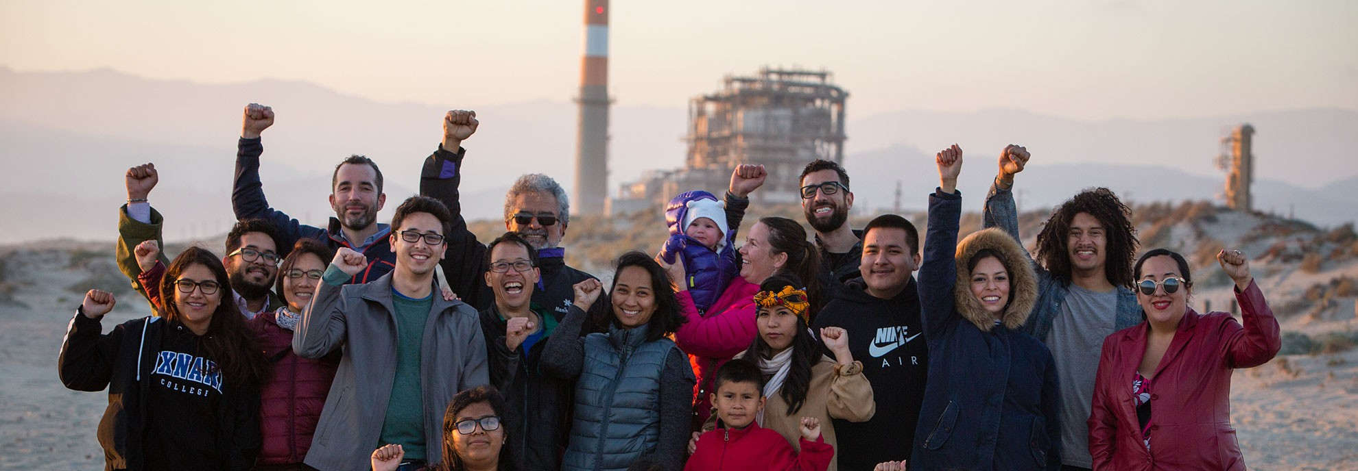 Celebrating victory over the Puente Power Plant.