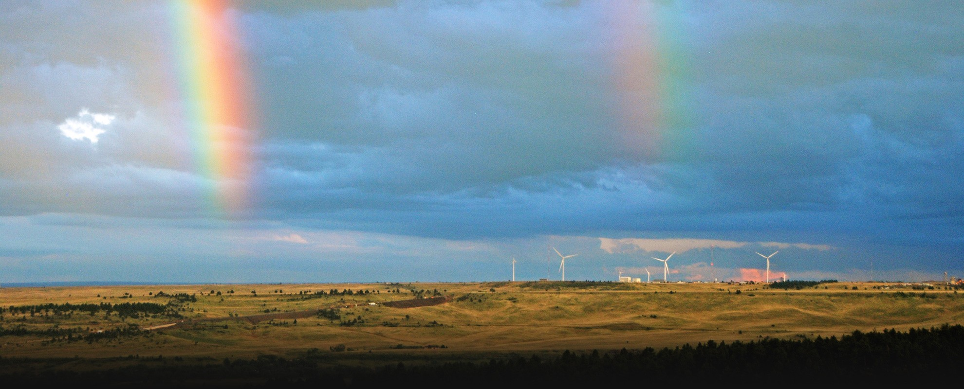 Double rainbows over the National Wind Technology Center.