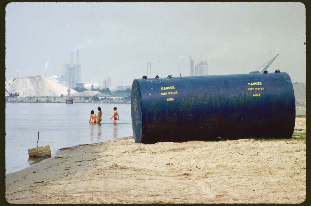 Chemical plants on shore are considered a prime source of pollution for Lake Charles, Louisiana in June 1972.