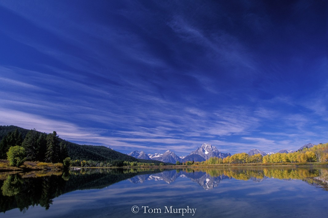 Autumn colors and Mt. Moran at the Oxbow Bend.
