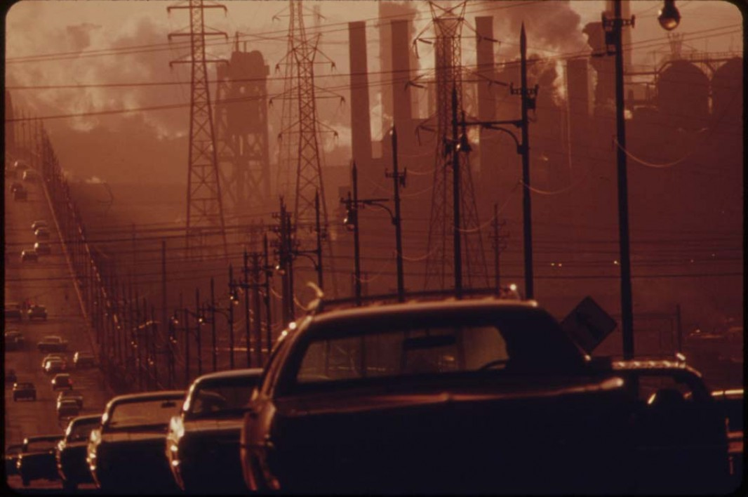 July, 1973: Clark Avenue and Clark Avenue Bridge in Cleveland, Ohio, obscured by smoke from heavy industry.