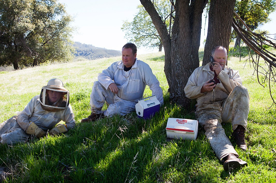 Beekeeper Jeff Anderson takes a lunch break with sons Kyle, far left, and Jeremy.