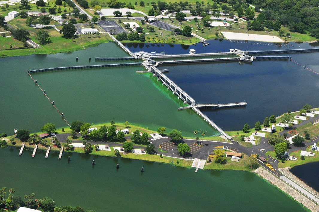 Toxic algae outbreak on southwest Florida's Caloosahatchee River in June and July 2011. Photo taken at Franklin Lock.