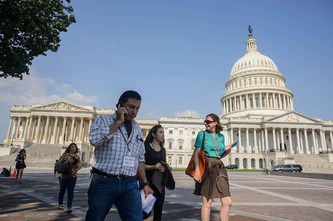 The Ohio group walks past the U.S. Capitol as they head to their meeting in the Hart Senate Office Building.