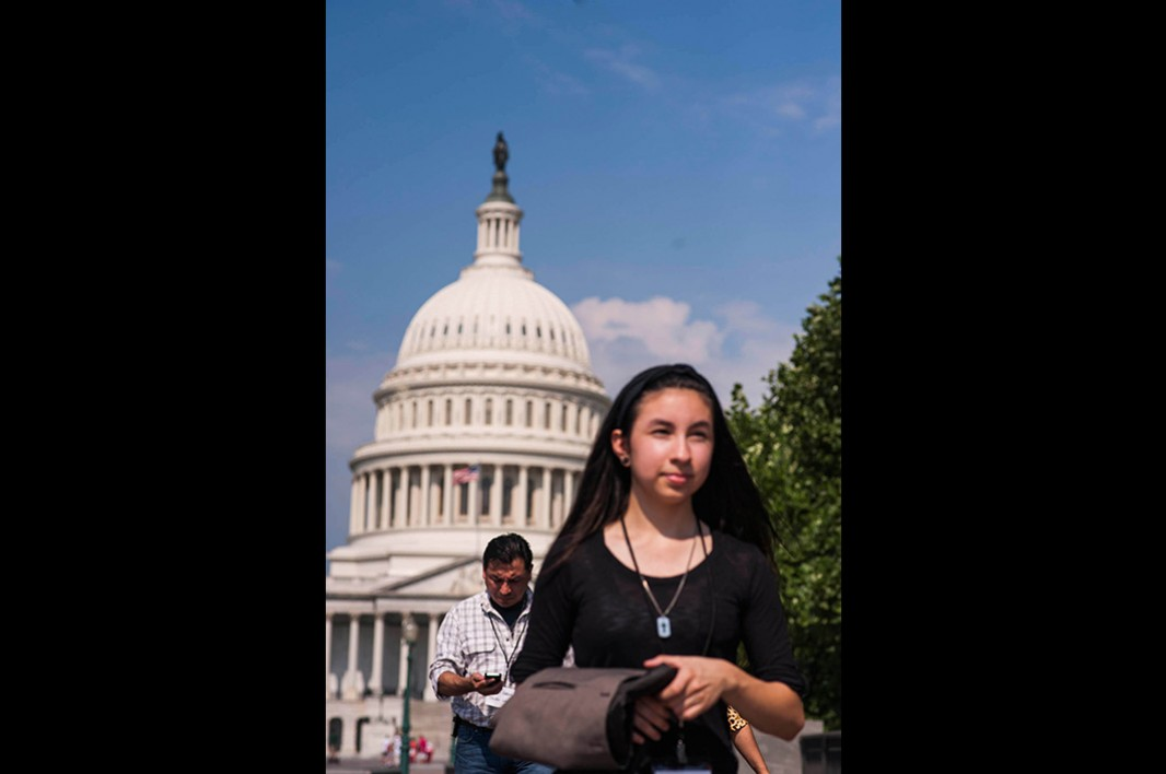 Ohio constituents Myra Vargas and her father Mario walk to their next meeting at the Hart Senate Office Building.