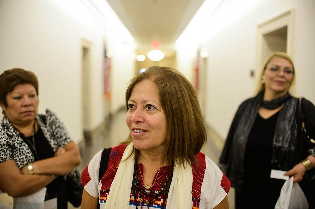 In a hallway of the Longworth House Office Building, Placencia, Treviño-Sauceda and Elizabeth Cordero (from left) reflect on their meeting.