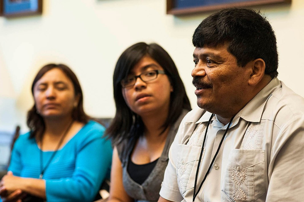 In the Rayburn House Building, Florida constituents Miguel Zelaya, his daughter Selena Zelaya and Ofelia Aguilar (from right) speak about their concerns during a meeting with their representative's office.