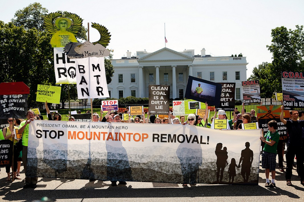 Protesters gather in front of the White House before delivering a photo petition on mountaintop removal. (Chris Jordan-Bloch / Earthjustice)