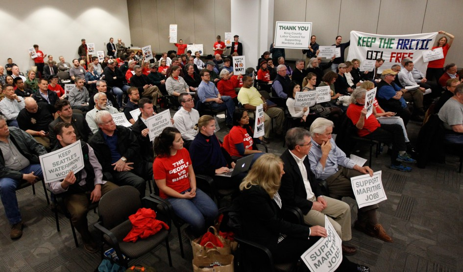 Seattle residents gather at a Port of Seattle commissioner's meeting on March 24, 2015.