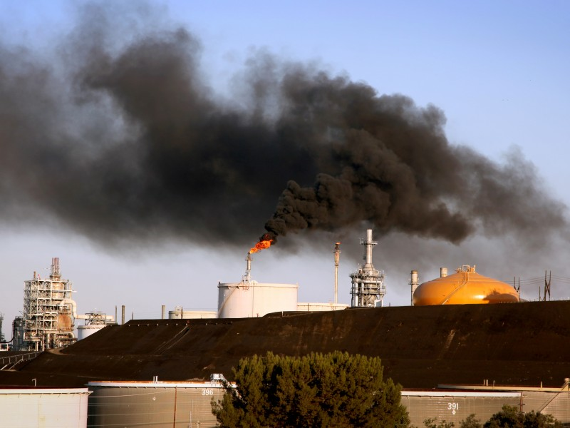 Flaring events contribute to air pollution at the  ConocoPhillips Oil Refinery in Wilmington, Calif. in 2012