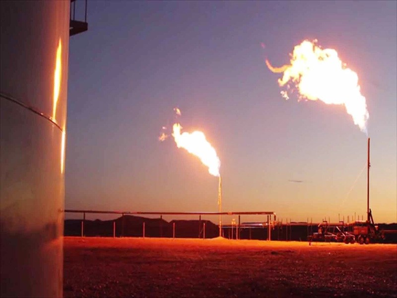 Flaring at a gas drilling site