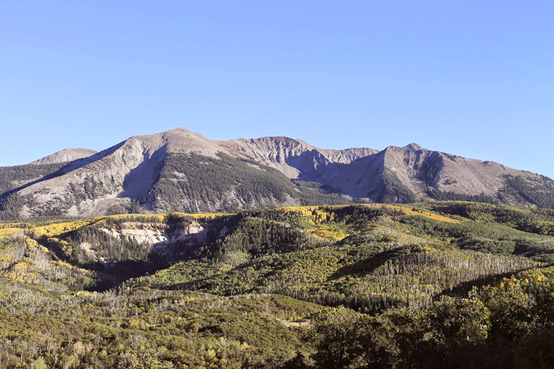 Mount Gunnison perched atop the Sunset Roadless Area.  The aspen forests to the right of the slump would be scarred by 6 miles of road and 50 methane drainage well pads if the lease expansion goes forward.