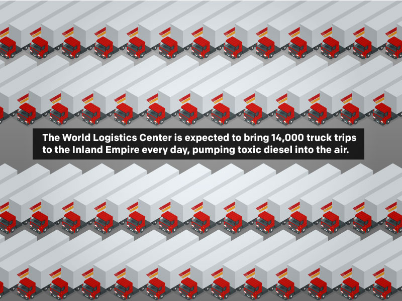The World Logistics Center is expected to bring 14,000 daily truck trips rumbling through the Inland Empire in California.