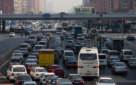 Photo of congestion in Beijing. http://www.flickr.com/photos/2_dogs/317806847/