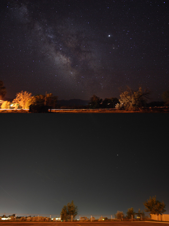 The southern sky, featuring Sagittarius and Scorpius. Top - Leamington, UT, pop. 217. Bottom - Orem, UT, in a metropolitan area of ~400,000. Credit: Flickr user jpstanley / CC BY 2.0