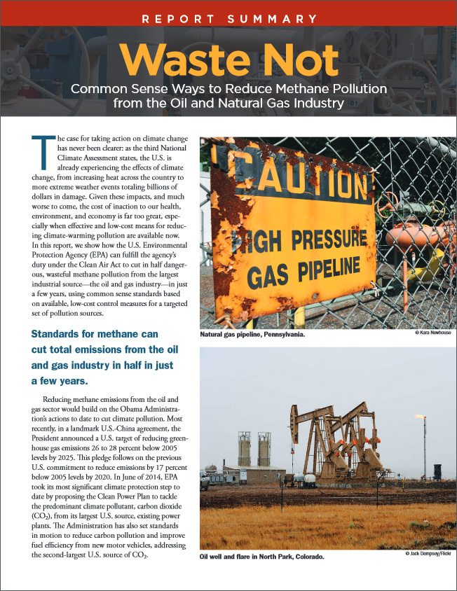 Report: Waste Not: Common Sense Measures to Reduce Methane Emissions from the Oil and Natural Gas Industry.